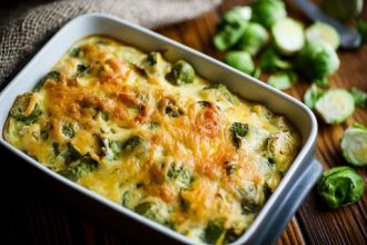 Brussels sprouts fried in cheese sauce